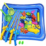 NiGHT LiONS TECH 30 Pcs Bath Toys Set Beach toy Magnetic Fishing Toys Waterproof Floating Fish Play sets with Blue Pool - Learning Education Toy Set for kids