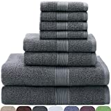 VEEYOO 8 Piece Towel Set Gray: 2 Bath Towels, 2 Hand Towels, 4 Washcloths, 100% Cotton Hotel & Spa Quality, Extra Soft and Highly Absorbent Bathroom Towel Set