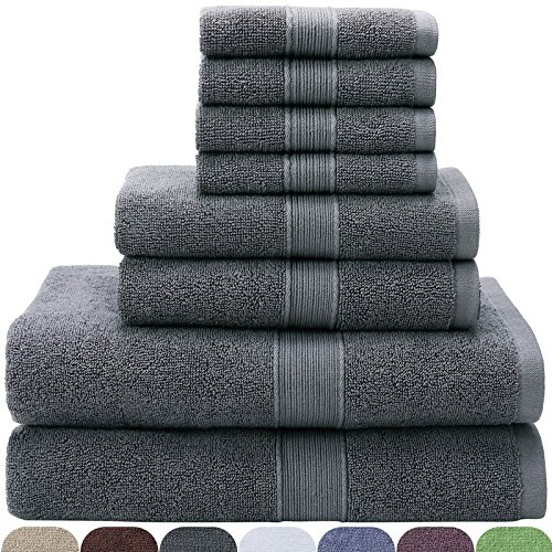VEEYOO Bath Towels Sets 8 Pieces - 100% Cotton Luxury Hotel & Spa Quality Bathroom Towels - Extra Soft Absorbency Towels Bathroom Sets Grey