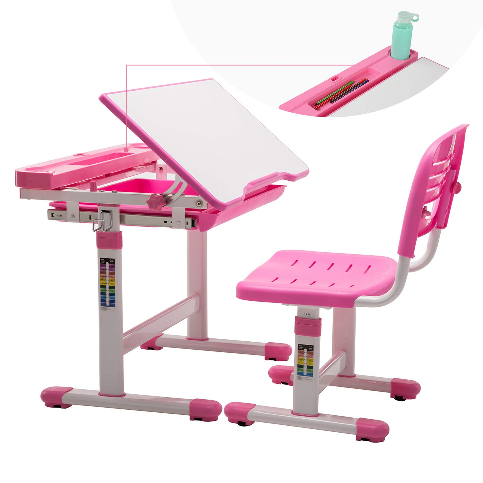 Children Desk and Chair Set, Height Adjustable Kids Sturdy Table, Student School Writing Desks for Girls Pink