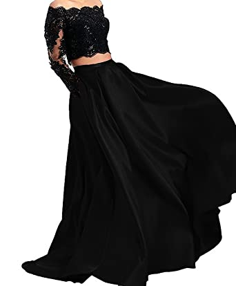 Sound of blossoming Sheer Lace Long Sleeve Prom Dress Two Pieces Homecoming Dress Formal Party Ball