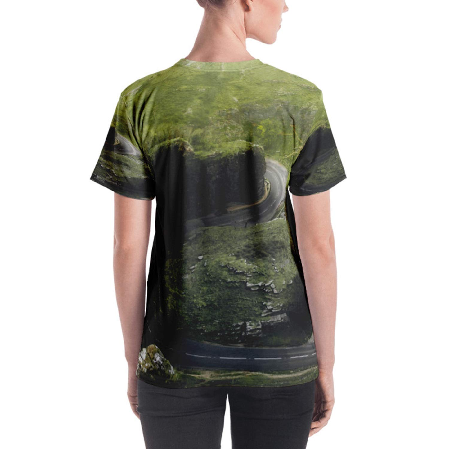 Wearable Urban Womens Crew Neck T-Shirt Jersey Tee Winding Road All Over Print