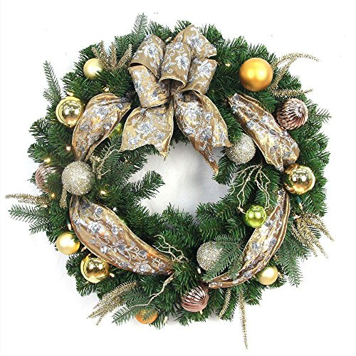 Manhattan Christmas Wreath with Ribbons, Baubles, 50 Battery-Operated Lights