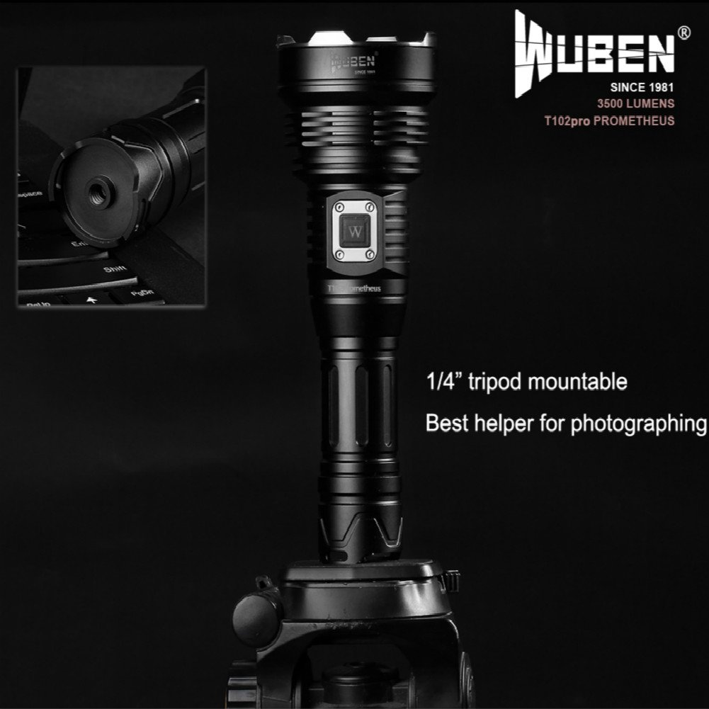 WUBEN T102pro Prometheus 3500 Lumens Flashlight with power indicator high drain battery 26650 by WUBEN (Image #6)