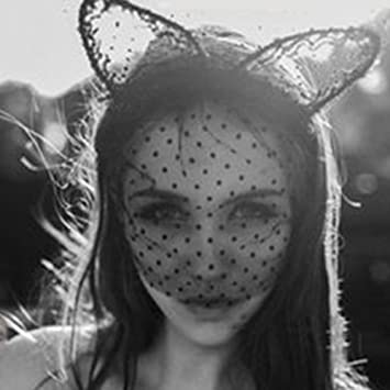 Unho Sexy Lady Cats Ears Headband Lace Mask Halloween Bunny Ears Mysterious Sexy Hair Band Masquerade