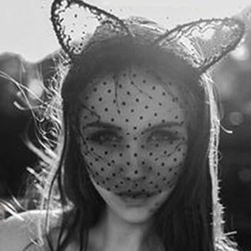 Unho Sexy Lady Cats Ears Headband Lace Mask Halloween Bunny Ears Mysterious Sexy Hair Band Masquerade