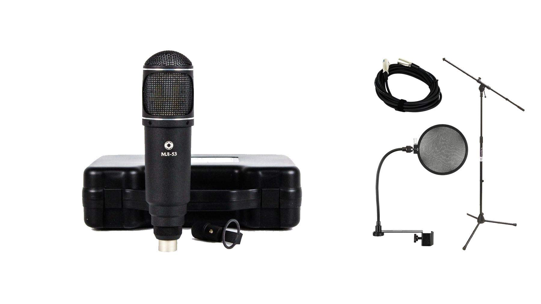 Oktava ML53 Ribbon Microphone Bundle with 20-foot XLR Cable & Pop Filter & Stand (4 Items)