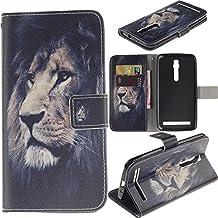 Zenfone 2 Case Asus Zenfone 2 Kickstand Case,Bat King Pu Leather Case Magnet Wallet Credit Card Holder Flip Kickstand Cover Case for Asus Zenfone 2 ZE550ML[Majestic Lion]