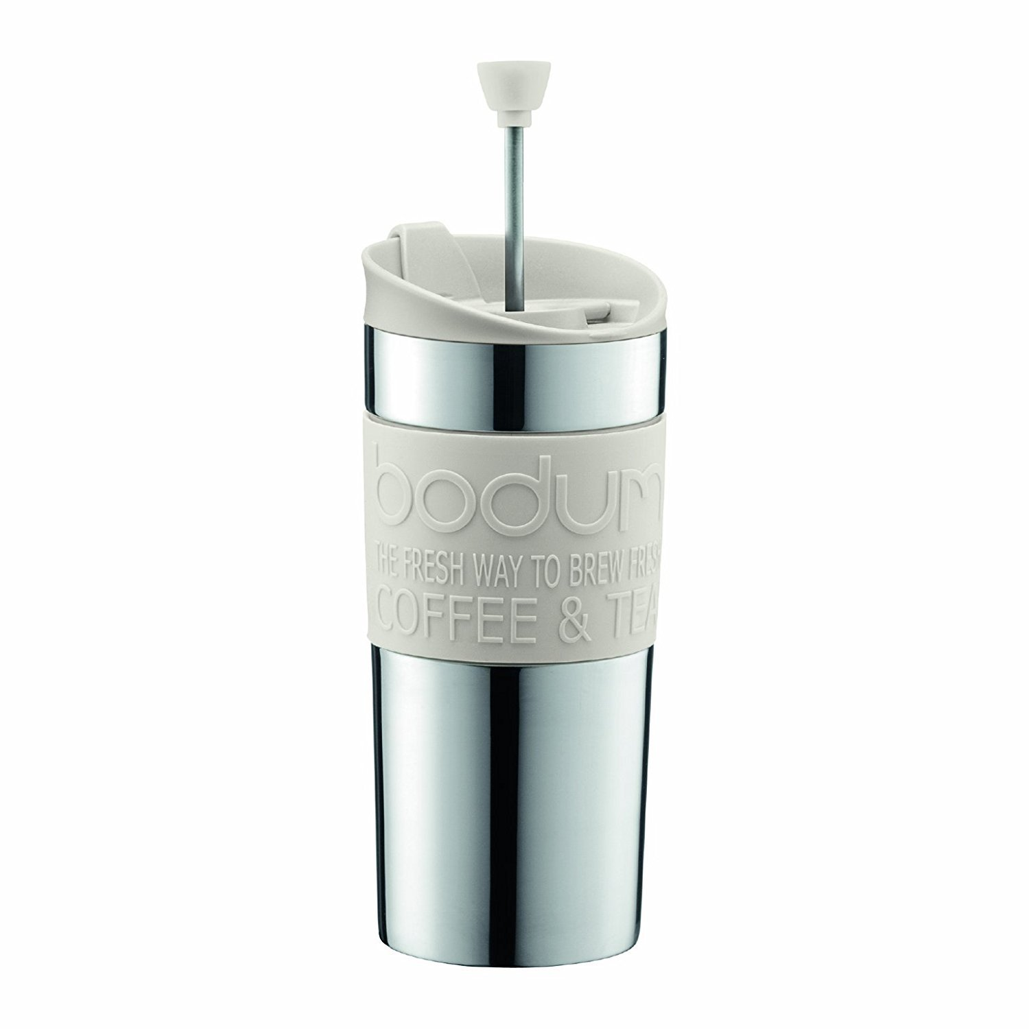 BODUM Travel French Press Coffee Maker Set, Stainless Steel with Extra Lid, Vacuum, 0.35 L/12 oz, White