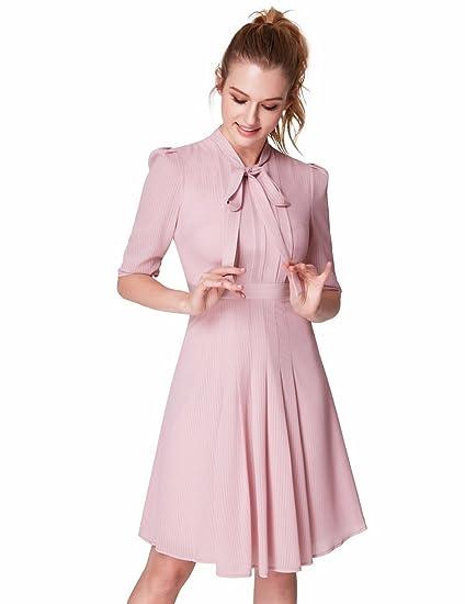 2f65965ebaf81 Alisa Pan Short Women Pink Elegant Bow Tie Half Sleeve Pleated Shirt Dresses  4US Pink