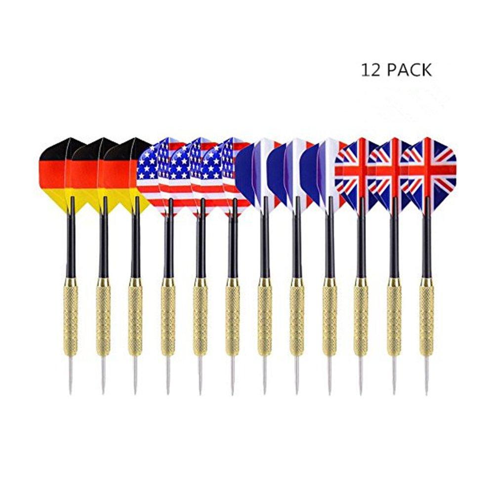FJROnline freccette con punta in acciaio 12/pezzi 4/stili bandiera nazionale di volo in acciaio INOX ago punta freccette