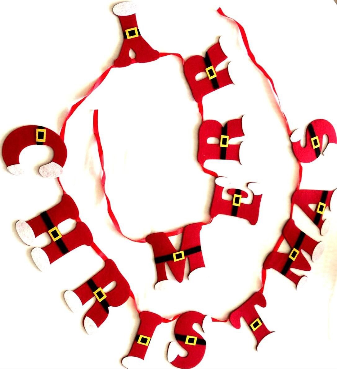 Flair 2.25m Merry Christmas Felt Banner Bunting Garland with Black /& Gold Santa Belt
