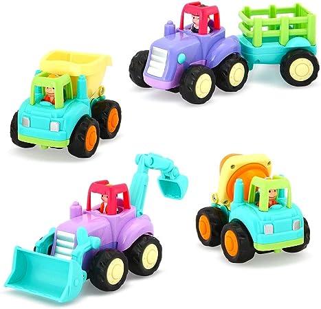 Imagen deVATOS Baby Toy Car para niños pequeños, Toy Cars para niños Niñas de 1 año, 2+ años Niño y niña Push and Go Car, 4 sets Tractor, Camión, Dumper, Bulldozer Friction Powered Car, Role-Play Fun Toy Gifts