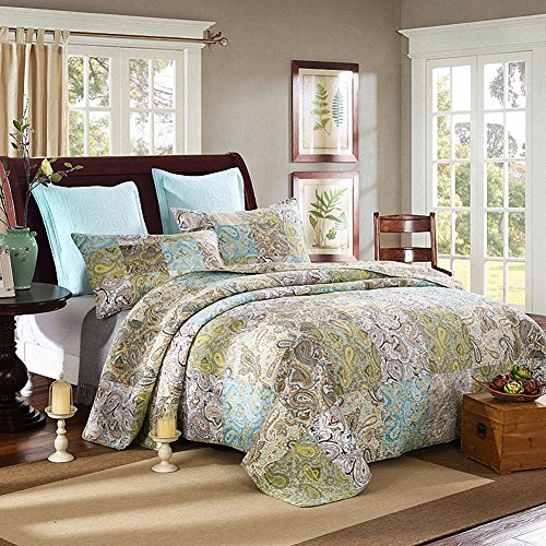 NEWLAKE Quilt Bedspread Sets-Romantic Paisley Pattern Cotton Patchwork Coverlet Set,Queen Size