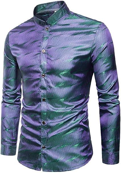 Estilo De Club Nocturno Camisas De Impresión Brillante para Camisas Hombre Juvenil Cómodo Botón Delgado Fiesta De Manga Larga Tops Camisa: Amazon.es: Ropa y accesorios