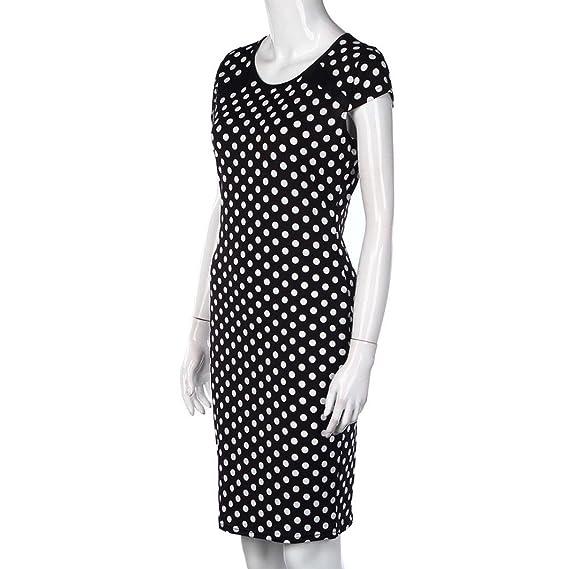 f707205ea1c Amazon.com  Hunputa Vintage 80s  Women Dots Short Sleeves Bodycon Dress Club  Sexy Party Cocktail Pencil Midi Dress  Clothing