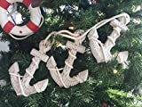 Hampton Nautical Wooden Rustic Whitewashed Decorative Triple Anchor Christmas Ornament Set, 7''
