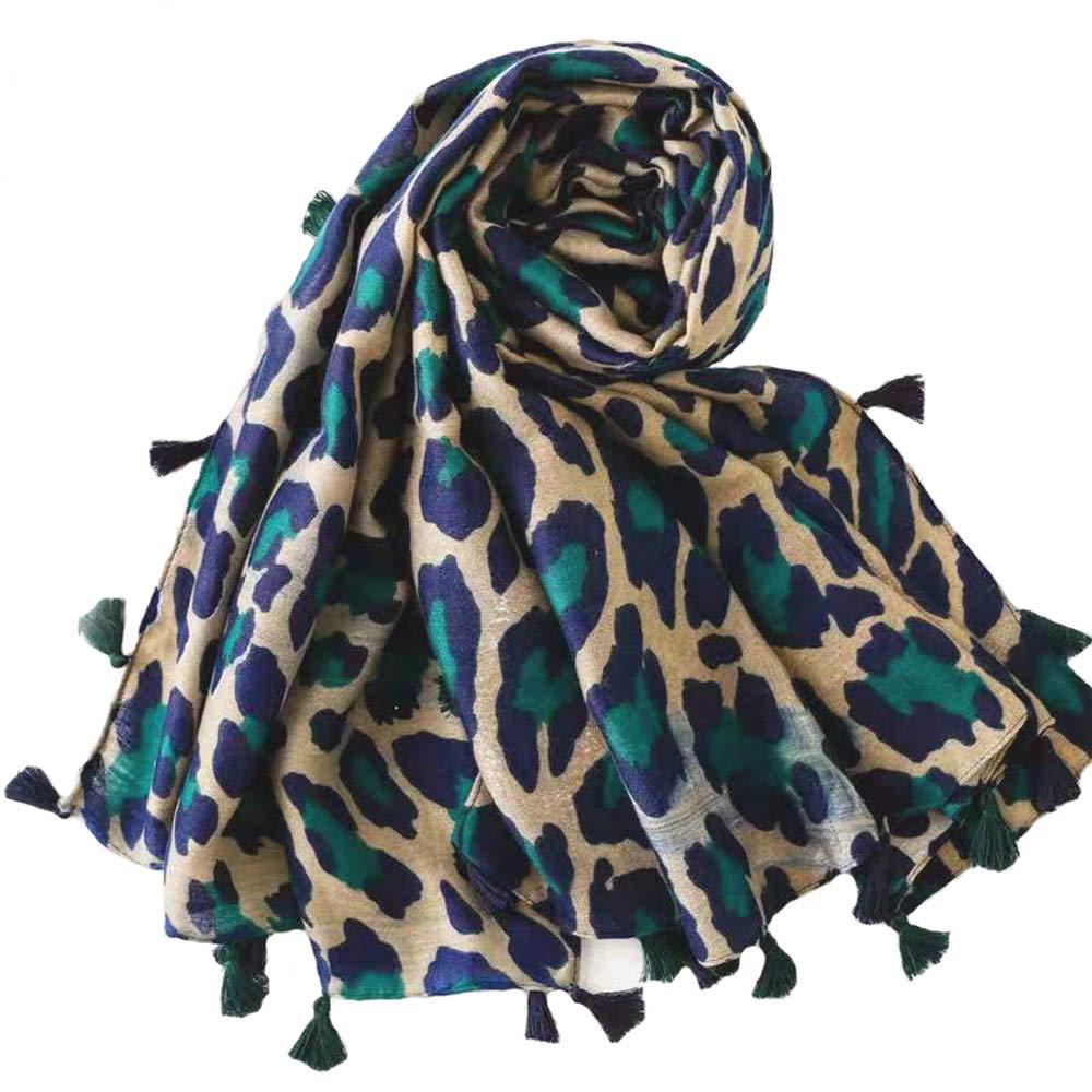 Micoop Sciarpa lunga da donna con motivo leopardato