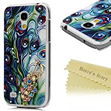 Galaxy S4 Mini Case - Mavis's Diary® 3D Handmade Bling Crystal Golden Peacock with Colorful Diamonds Shiny Sparkle Gems Feather Pattern Clear Cover Hard Case for Samsung Galaxy S4 Mini I9195