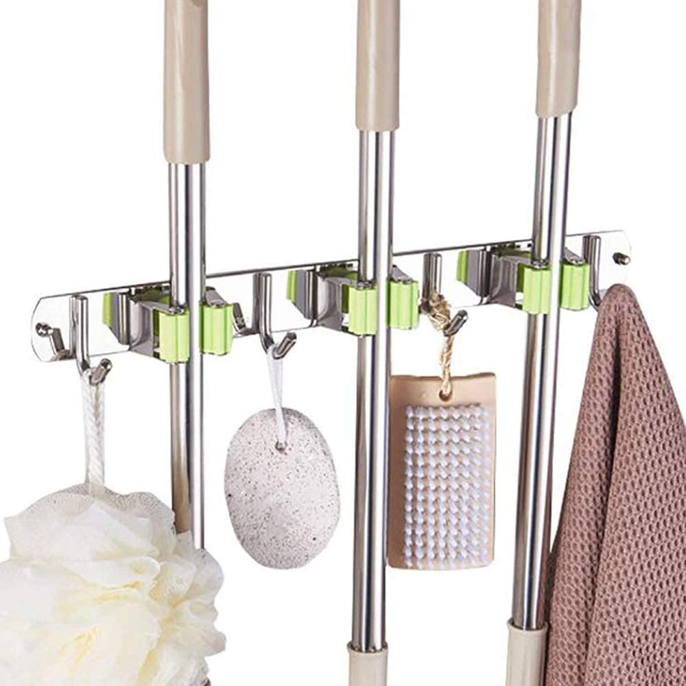Garage laundry room ONMIER Mop and Broom Holder Ideal Tools Hanger for Kitchen Garden Multipurpose Wall Mounted Organizer Storage Hooks 5 Position 6 Hooks