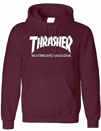 82846297e21c Thrasher Burgundy Hoodie Skater Magazine Skateboard for Adults and Children  (Small