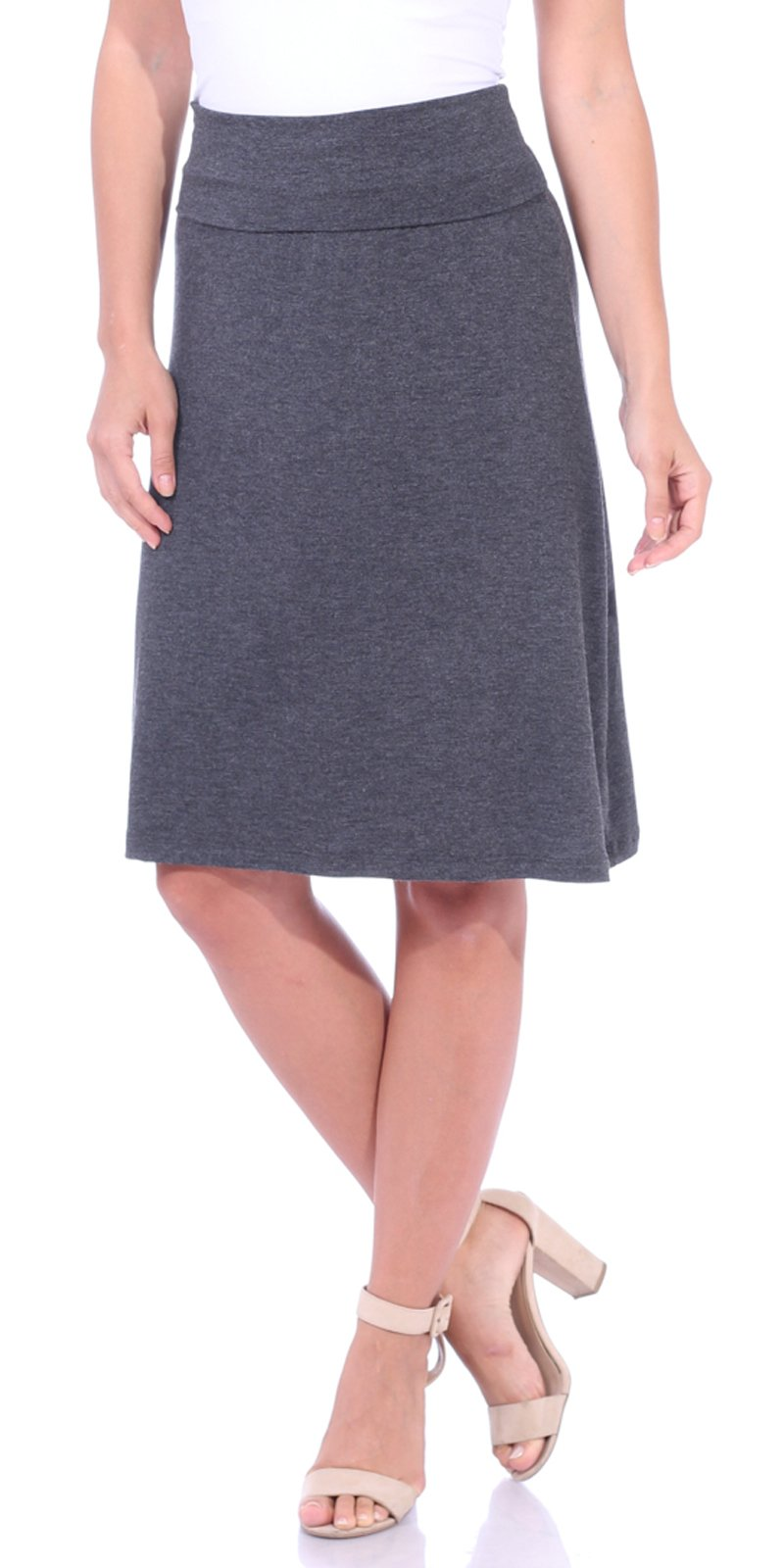Popana Women's Casual Stretch Midi Knee Length Short Summer Skirt - Made in USA Medium Charcoal
