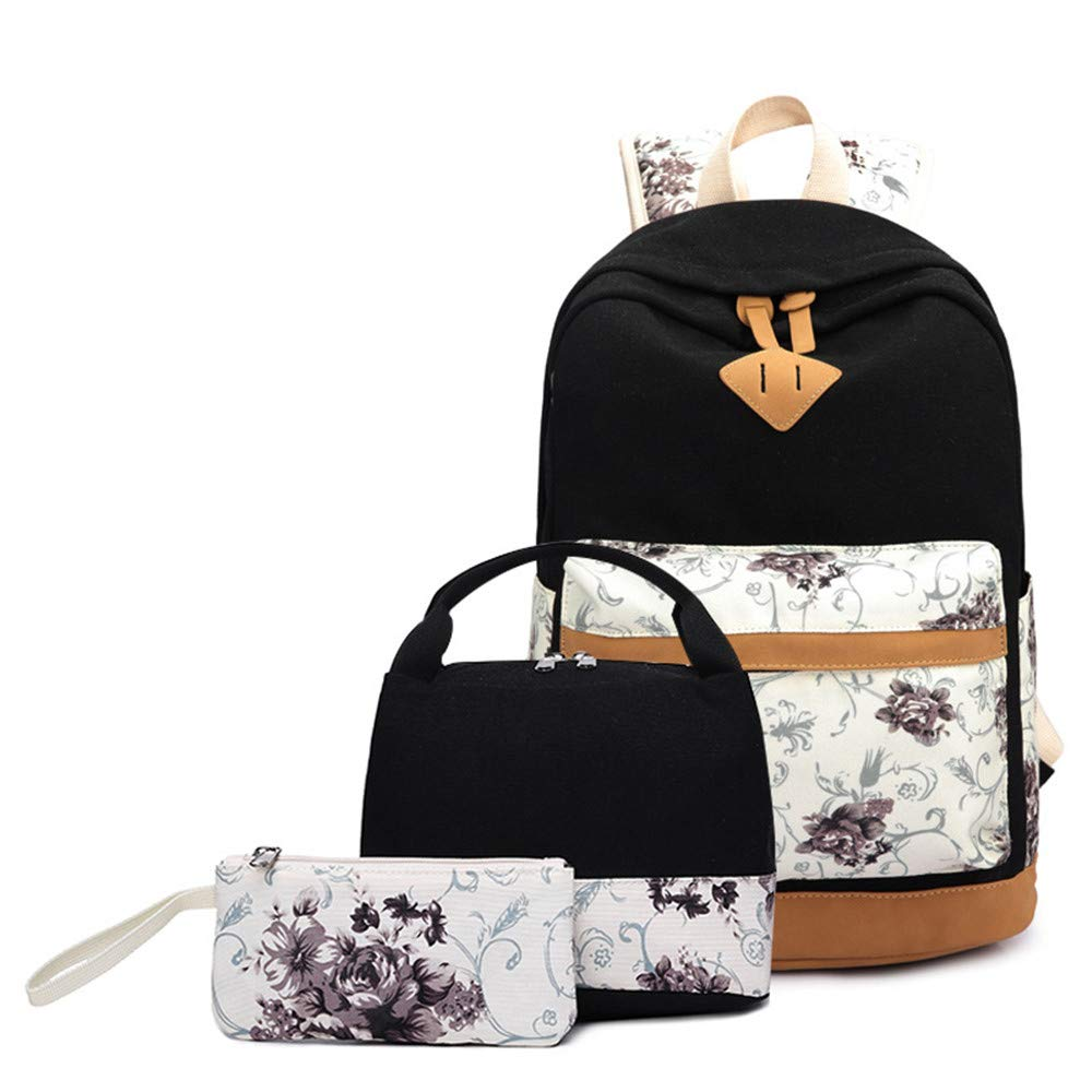 Sammid Travel Casual Daypacks Teen Girls,3PCS/Set Stylish Laptop School Backpack Lightweight Lunch Bag Pencil Case Students Boys Girls - Black