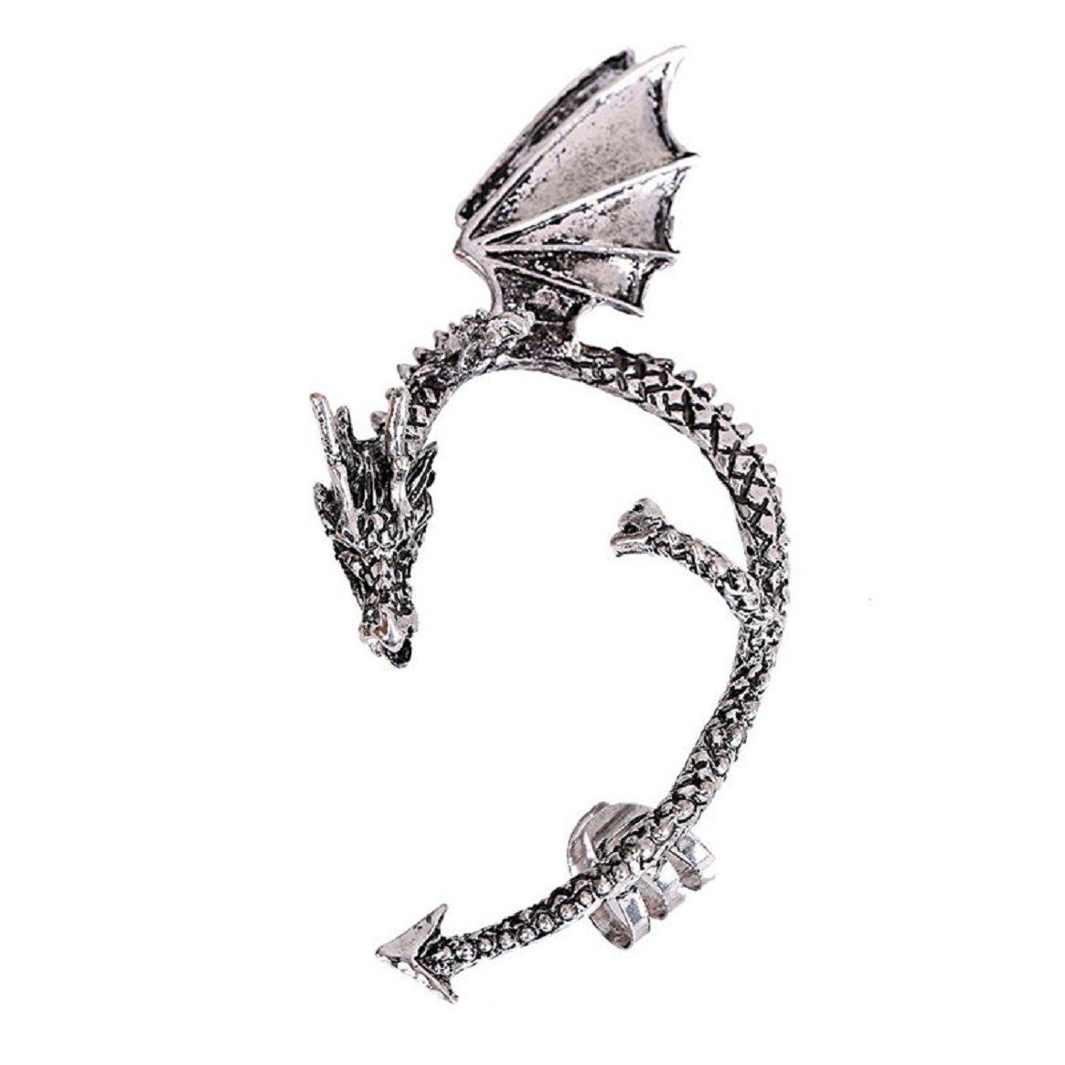 Ear Cuff, Coerni Cool Dragon Ear Cuff Earrings For Women (Silver)
