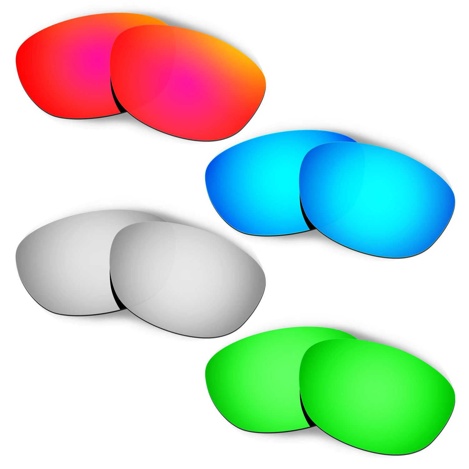 Hkuco Plus Mens Replacement Lenses For Oakley Fives 2.0 Red/Blue/Titanium/Emerald Green Sunglasses