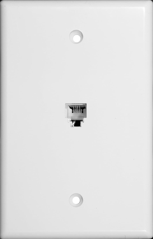 White Morris 87011 Midsize Single RJ11 4 Conductor Phone Jack Wall Plate