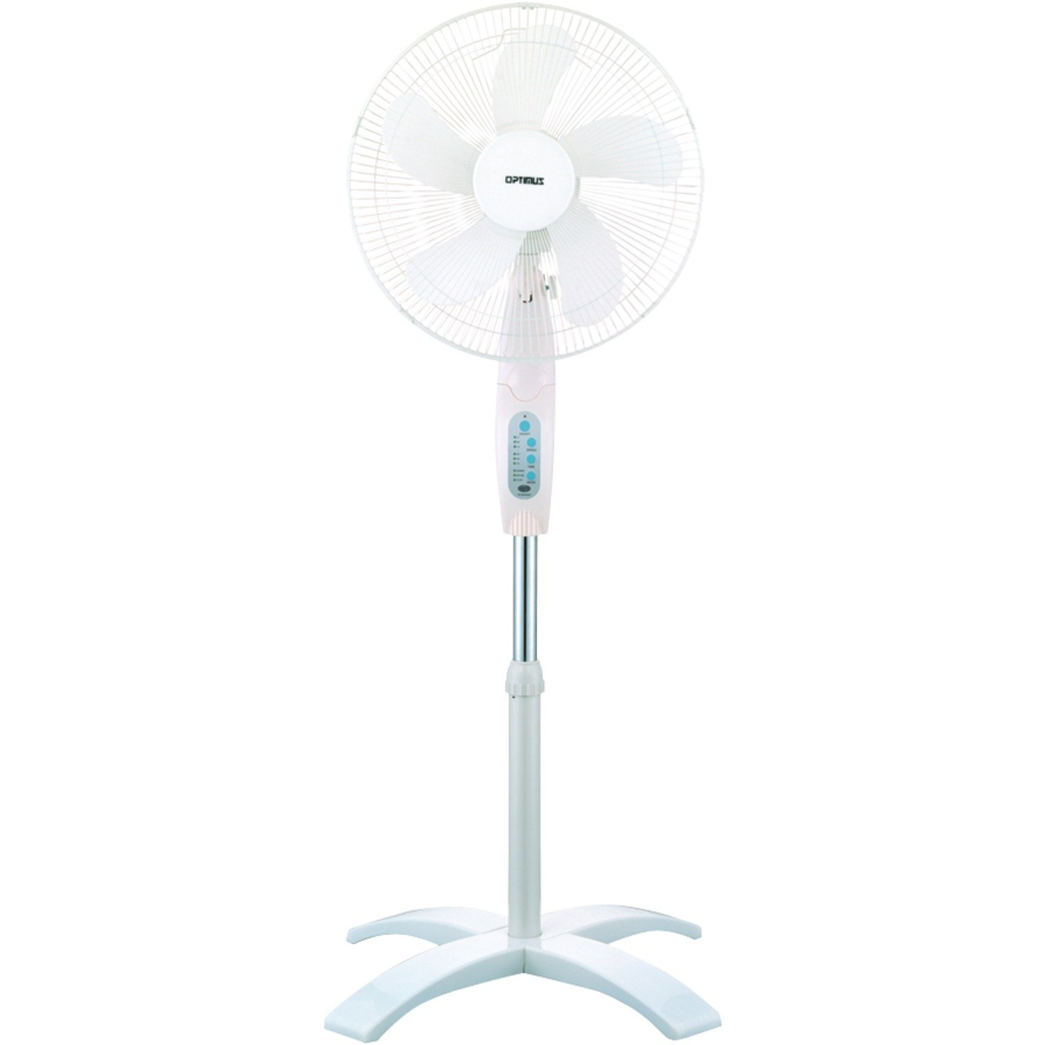 Optimus F-1760 16-Inch Wave Oscillating 3-Speed Stand Fan with Remote Control, White