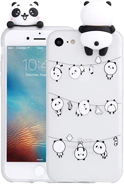 LAPOPNUT 3D Cartoon Panda Case for iPhone 7 iPhone 8 iPhone SE 2020 Case Soft Back Cover Candy Colour Cute Bear Design Slim Flexible Protective Case Cover Gel Rubber Bumper for Girls, Lovely Pandas