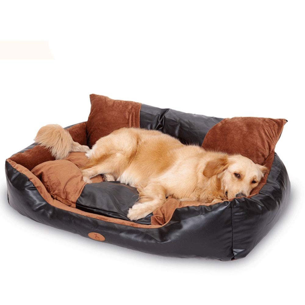 Large Sofa Shape Comfortable Atmosphere Black Kennel, Removable Large Dog Bed PU Leather Easy to Clean No Deformation,L