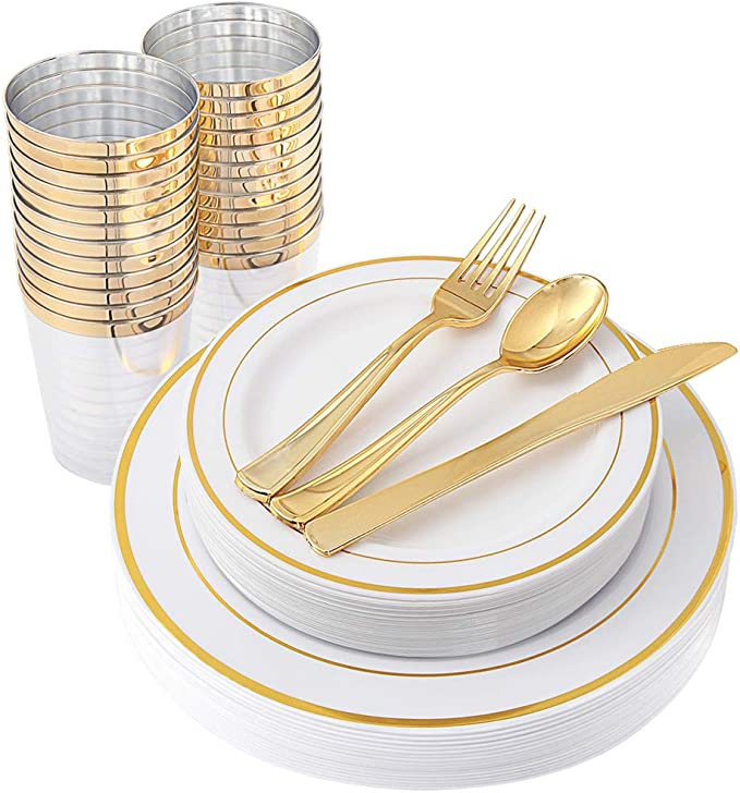 96 Piece/16Guests-Party Wedding Disposable Dinnerware -Plastic Gold Plates,Cutlery&Cups: 16 Dinner Plates, 16 Dessert Plates, 16 Cups, 16 Forks, 16 Knives, 16 Spoons