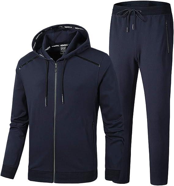 BLFGNCOB - Chándal para hombre, 2 piezas, casual, gimnasio, jogging, con capucha, con cremallera completa, bolsillos con cremallera Azul Marino 2 XXL: Amazon.es: Ropa y accesorios