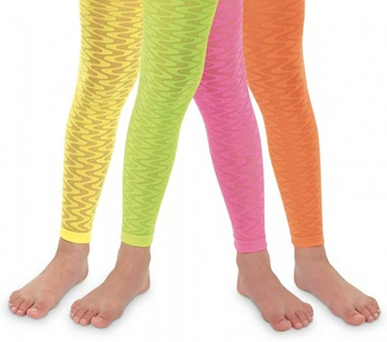 db70d4d44c26f Amazon.com: Jefferies Girls Sheer Neon Zig Zag Wave Footless Tights Size 2  to 10 years- 4 Colors!!: Clothing