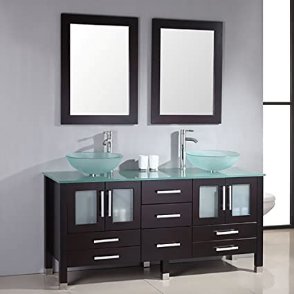 Amazon.com: 71 Inch Espresso Modern Bathroom Double Vanity Set ...