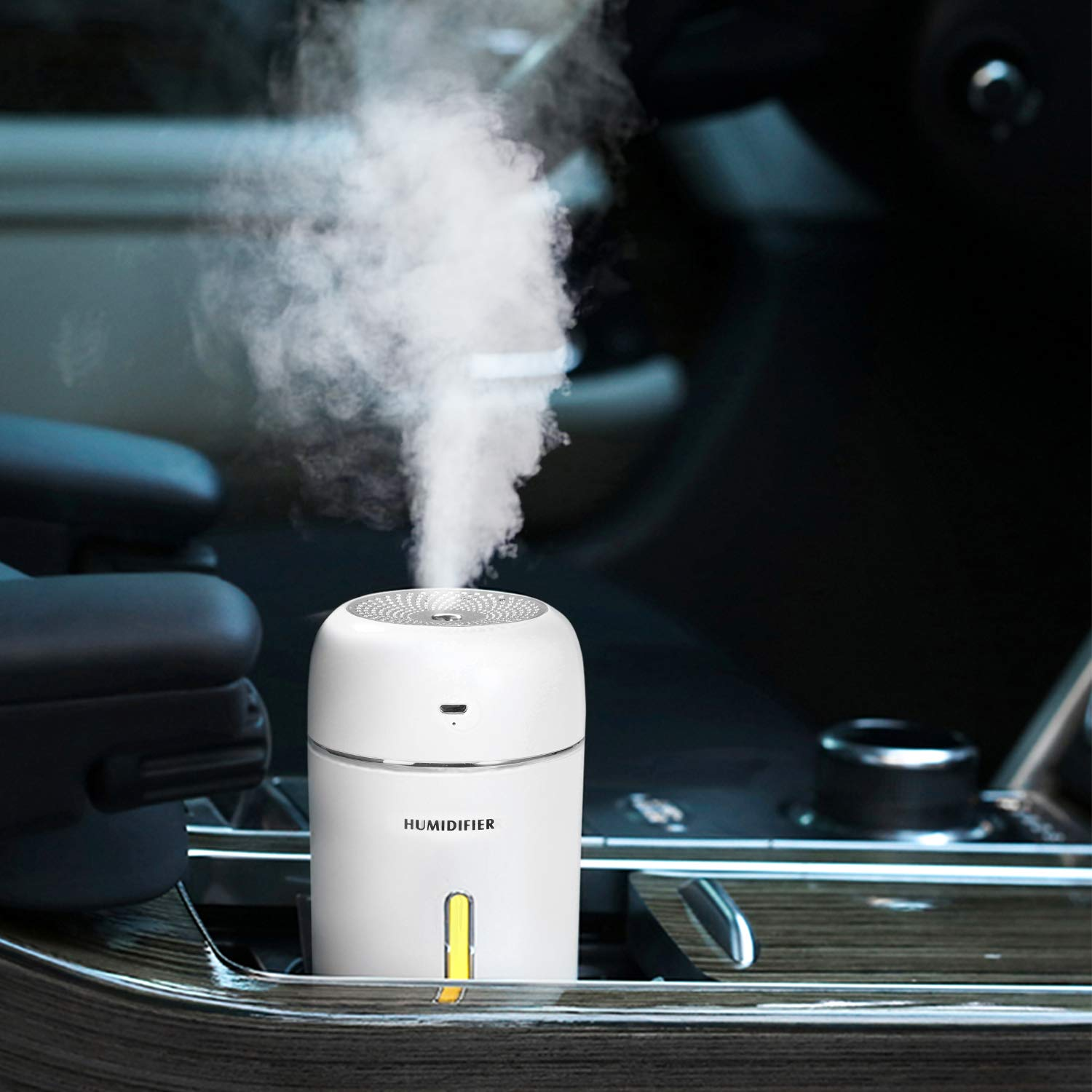 Humidifiers,Mini Humidifier, 280ML Small Cool Mist Humidifier, Car Humidifier Baby Humidifier for Baby Bedroom Travel Office Home, Auto Shut-Off, 2 Mist Modes, Super Quiet, Lasts Up to 9 Hours,White