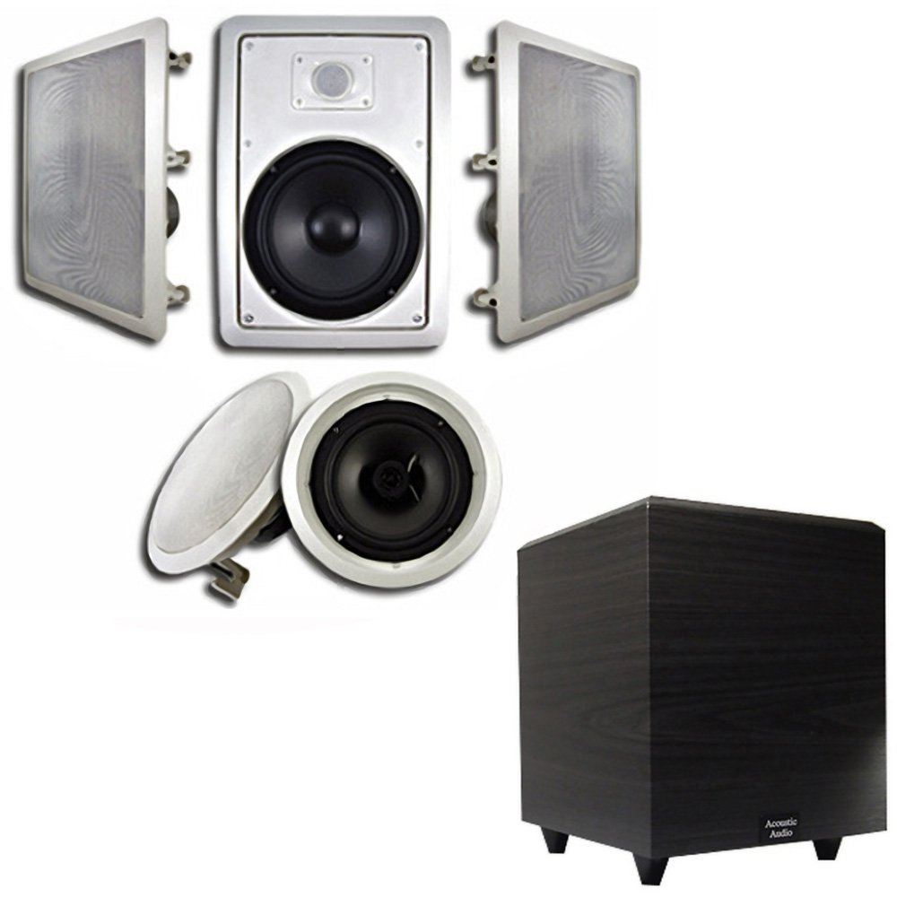 Acoustic Audio HT-85 In-Wall/Ceiling 5.1 Home Theater 8'' Speakers and 6.5'' Powered Sub HT-85-RW6