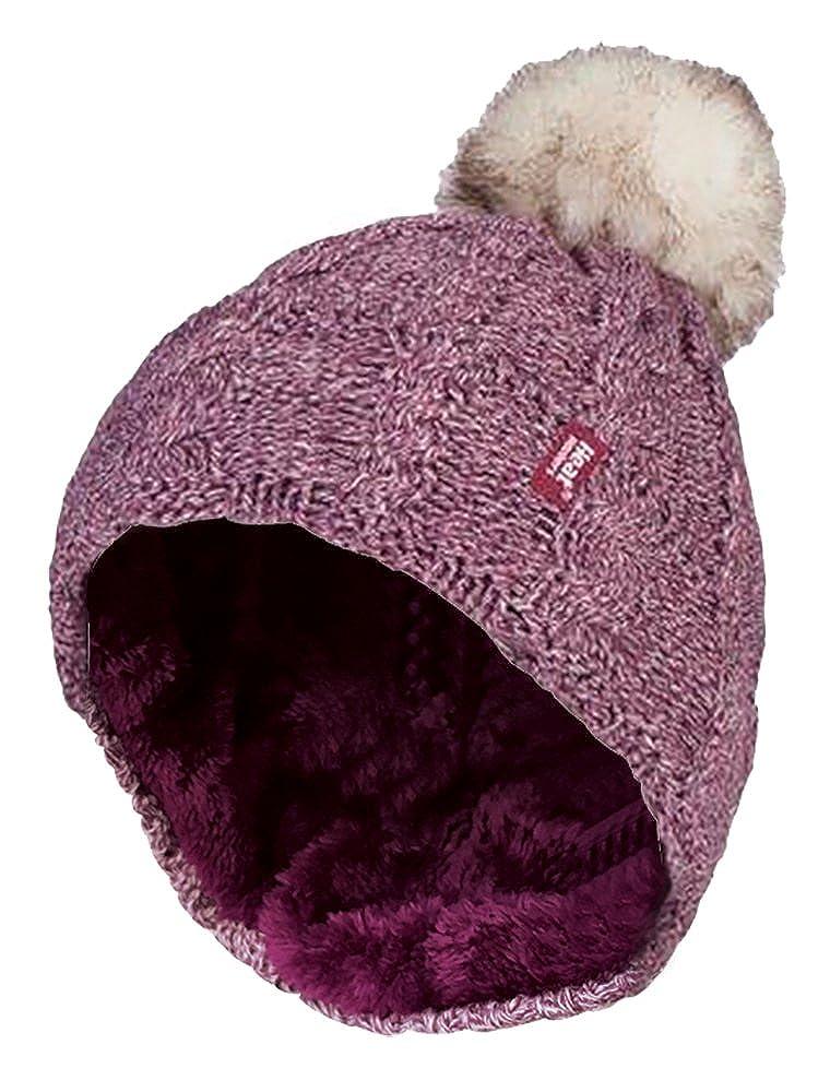 Heat Holders - Femme Confortable Chaudes Thermique Bonnet Chapeau Bonnie  avec Pompom pour Froid Température Black ec35e89ff599