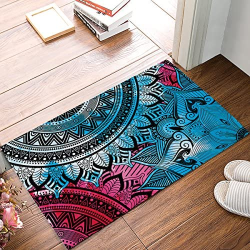 Family Decor Doormat for Entrance Way Indoor Bathroom Front Door Area Floor Mat Rugs Rubber Non Slip Absorb Kitchen Runner Carpet, Colorful Hippie Mandala Art Design Boho 32 x20