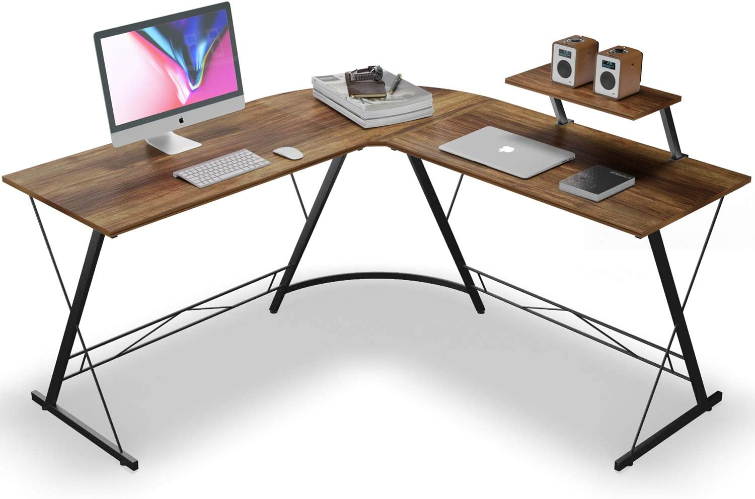 L Shaped Desk Home Office Desk with Round Corner Computer Desk with Large Monitor Stand Desk Workstation,Vintage