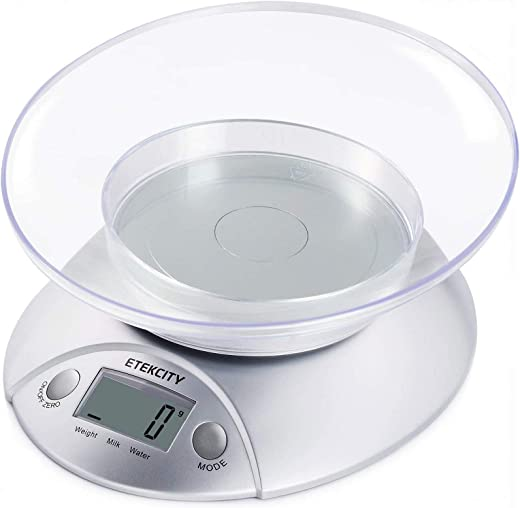 Etekcity Digital Kitchen Weighing Scales, Cooking Scales with Detachable Bowl 5kg/11lb, Liquids in ml and fl. Oz. Tare Function, LCD Display, Easy Storage, Food Weighing Scale for home, Silver