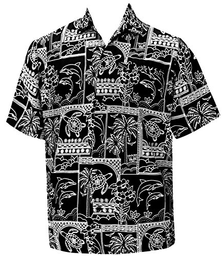La Leela Aloha Hawaiian Tropical Likre Father Cheap Solid plain male Short Sleeves Button Down Tropical Shirts Black, XL (Camp Shirt Printed Silk)
