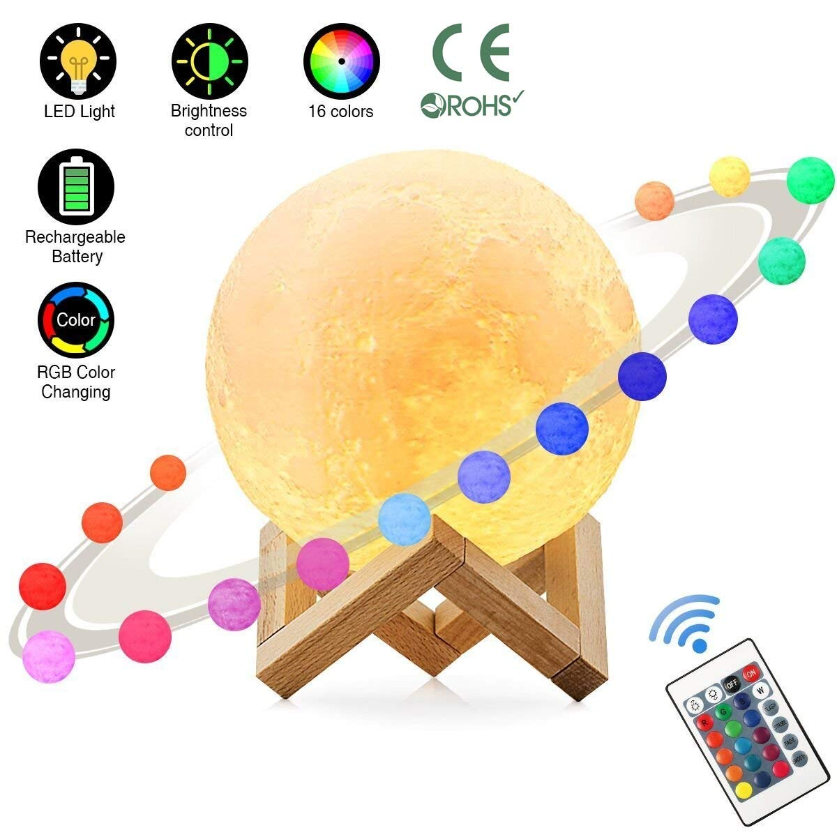 Zahala Moon Lamp with 16 Colors,3D Print Moon Light with Wooden Stand & Remote & Touch Control and USB Recharge,PLA Material,Lovely Night Light for Baby Kids Lover Birthday Party Gifts