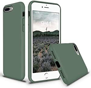 Vooii iPhone 8 Plus Case, iPhone 7 Plus Case, Soft Silicone Gel Rubber Bumper Case Microfiber Lining Hard Shell Shockproof Full-Body Protective Case Cover for iPhone 7 Plus /8 Plus - Pine Green