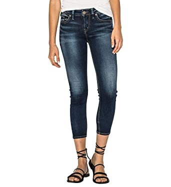 5aa1cc1b Image Unavailable. Image not available for. Color: Silver Jeans Co. Women's  Suki Curvy Fit Mid Rise Skinny Crop Jeans