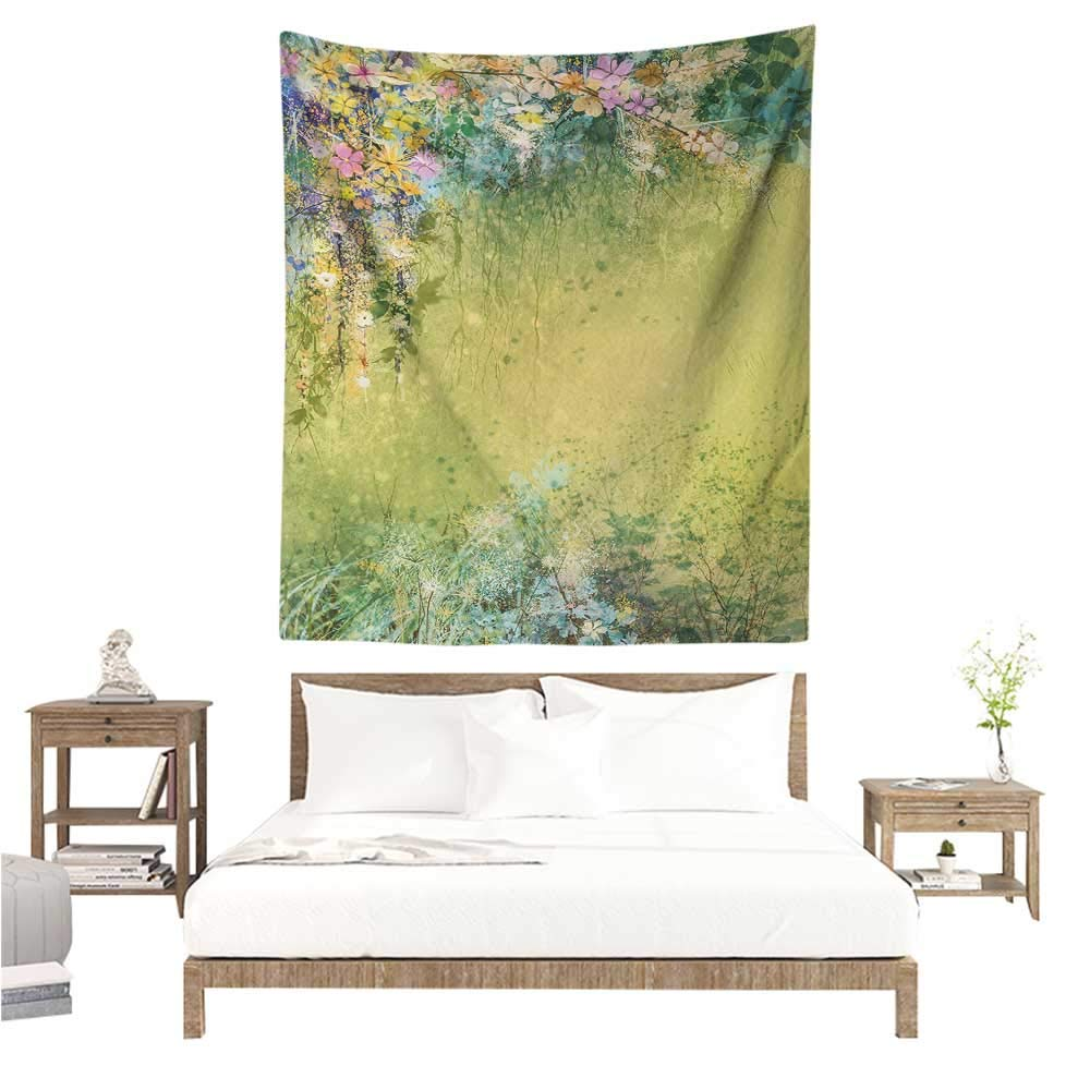 WilliamsDecor Decorative Tapestry Flower Spring Foliage with Leaves Hand Drawn Aesthetic Inspiring Envrionmental Friendly Picture 60W x 80L INCH Suitable for Bedroom Living Room Dormitory by WilliamsDecor