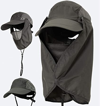 988d4f3987995 MOCHOEL Fishing Hat Summer Sun Cap Wide Brim Removable Face Neck Cover Flap  Military Quick Dry