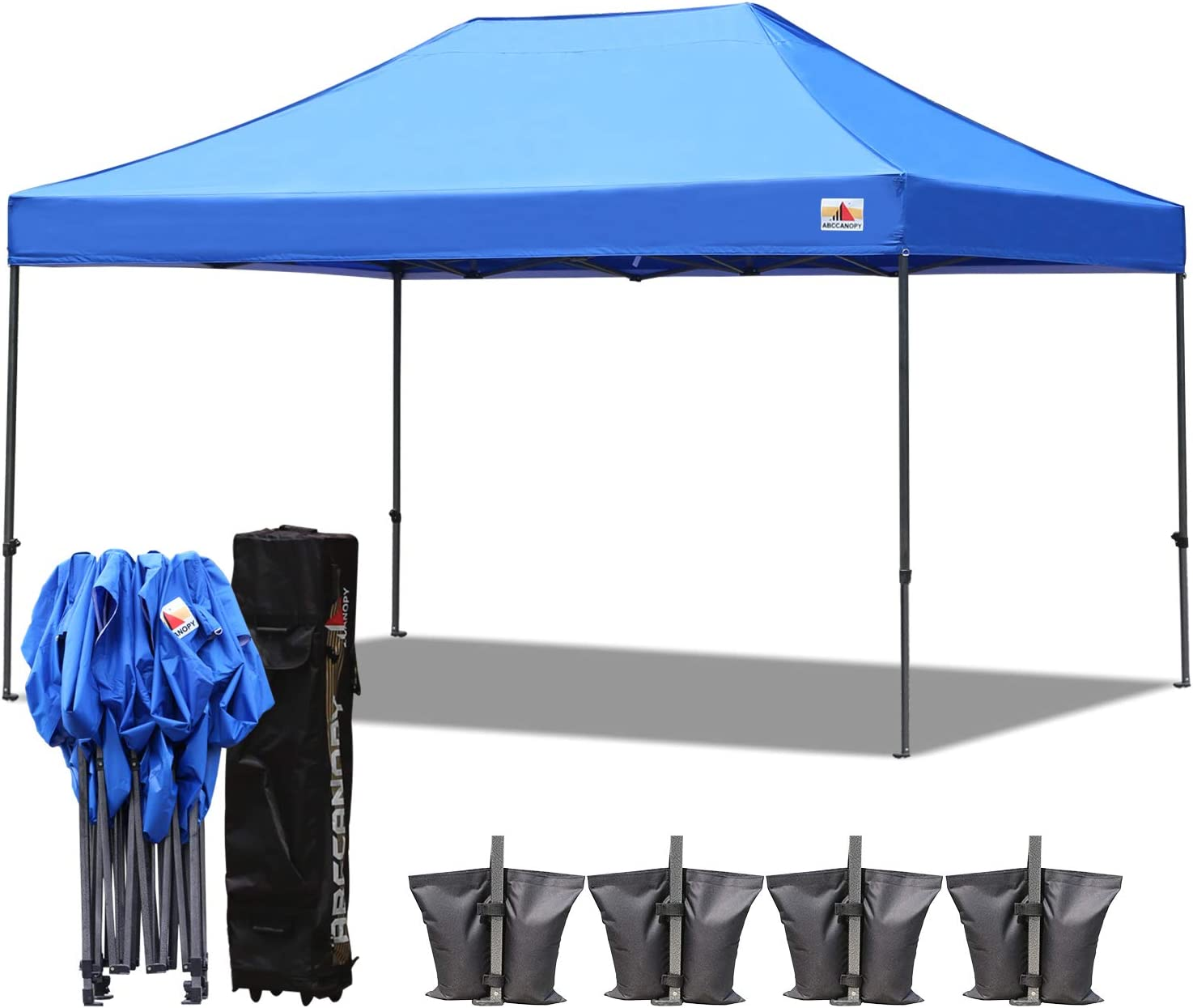 ABCCANOPY 18 Colors 10×15 Pop up Tent Instant Canopy Commercial Outdoor Canopy with Wheeled Carry Bag Bonus 4 Weight Bags Blue